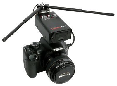 VM1 Video Mics attached to a Canon EOS 550D